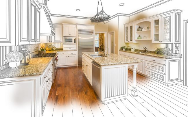 Custom Kitchen Design Drawing and Brushed Photo Combination